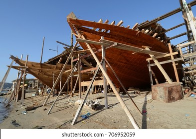 Traditional wooden dhow boats building, Oman