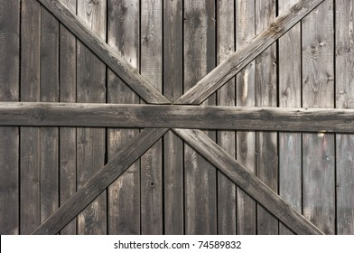 Traditional wooden door with cross