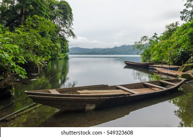 Traditional wooden fisher boat anchored at Barombi Mbo crater lake in Cameroon, Africa