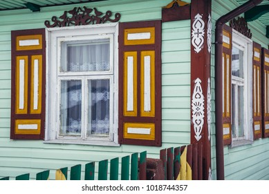 Traditional wooden folk house in Soce, small village in Podlasie region of Poland