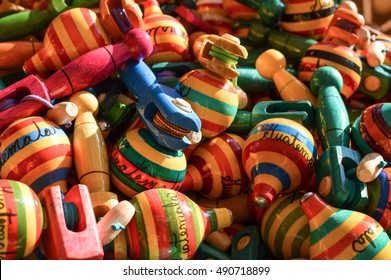 Traditional wooden handicrafts made by Maya people in Antigua, Guatemala. Central America. Shallow DOF