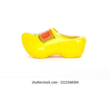 """Traditional Wooden Holland shoe """"Klomp"""", Dutch clogs, souvenir of Netherlands, on white background"""