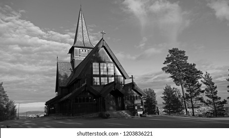 Traditional wooden Holmenkollen Chapel, black and white view, Oslo, Norway