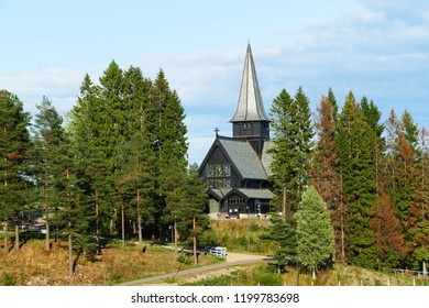 Traditional wooden Holmenkollen Chapel, Oslo, Norway