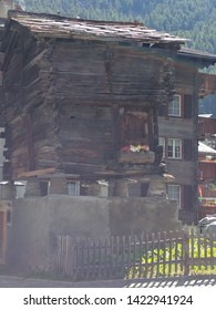 The traditional wooden homes, barns and stores of Zermatt, Switzerland