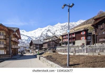 Traditional wooden Hotels and Huts in Saas-Fee Ski Resort in Switzerland