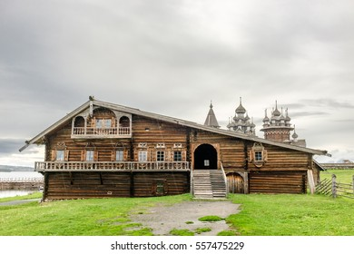 Traditional wooden house of prosperous peasant family from Zaonezhye, Kizhi island, UNESCO world heritage site, Onega lake, Karelia, Russian north-west