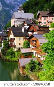 Traditional wooden houses of the Austrian village of Hallstatt