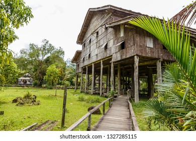 Traditional wooden houses. Melanau Tall in the Kuching to Sarawak Culture village. Borneo, Malaysia