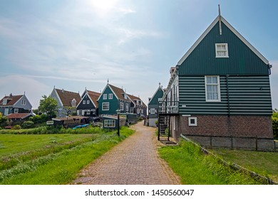 Traditional wooden houses on Marken in the Netherlands