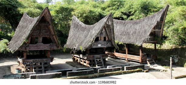 traditional wooden houses in Simanindo Village on Samosir island in Indonesia