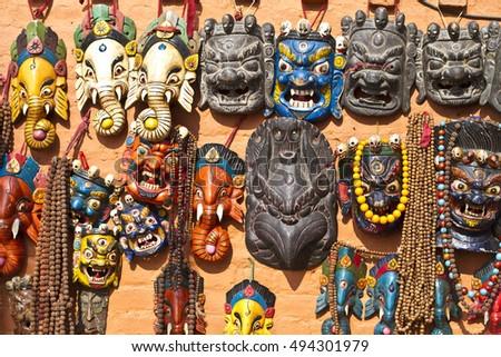 Traditional Wooden Masks Handicrafts Sale Shops Stock Photo Edit