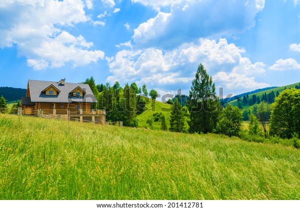 Traditionelles hölzernes Berghaus auf grünem Feld im Sommer, Szczawnica, Beskid Mountains, Polen