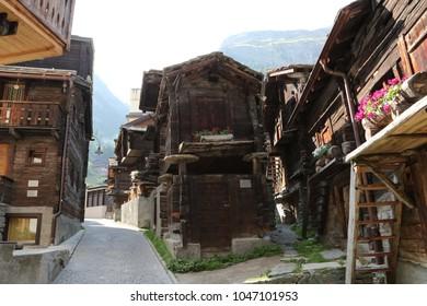 Traditional wooden old houses, Zermatt, Switzerland