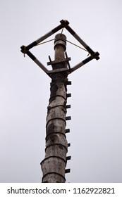 Traditional wooden pole of Danza de los voladores in Puebla Mexico.