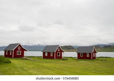 Traditional wooden red house in Iceland