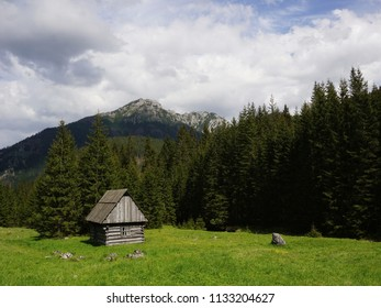 Traditional wooden shepherds hut in Chocholowska Valley, Tatra Mountains, Poland