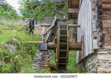 Traditional wooden waterwheel near Werfen in Pongau valley, Austria. The water-wheel was used to generate power for crunching cereals