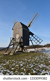 Traditional wooden windmill at the swedish island Oland in winter season