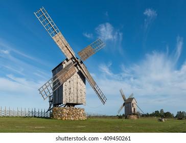 Traditional wooden windmills in Angla, island of Saaremaa, Estonia.