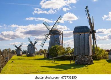 Traditional wooden windmills of Saaremaa island, Estonia. Sunny autumn day.