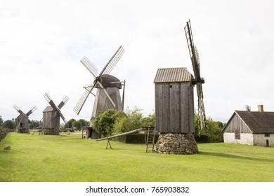 Traditional wooden windmills of Saaremaa island, Estonia