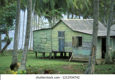 a traditional Woodhouse at the Village of Las Terrenas on Samana in the Dominican Republic of Caribbean Sea in Latin America.   Dominican Republic, Samana, April, 2006