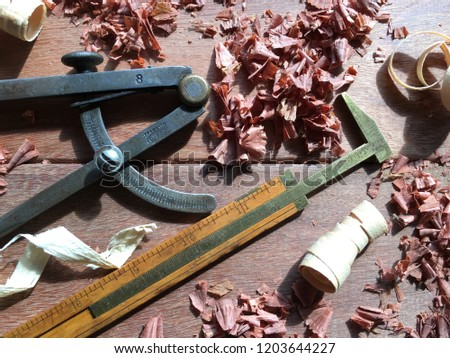 Traditional Woodworking Boxwood Rule Caliper Compass Stock Photo