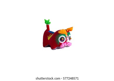 Traditional wool toy representing a tiger, coming from Xian, Shaanxi province. These traditional toys for children are still handmade by old women in China. Isolated o white, templare ready for design