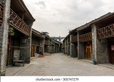 Traditional xingping old town village in guangxiprovince near yangshuo in china. Morning street view through the xingping village.