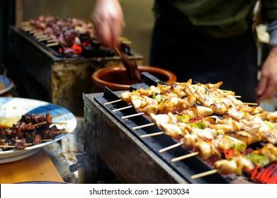 Traditional yakitori chicken stand in Tokyo