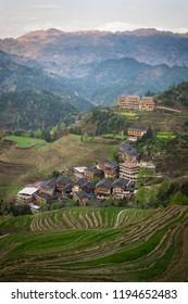 Traditional Yao minority Tian Tou Zhai village at Longji rice terraces at Guangxi, China.