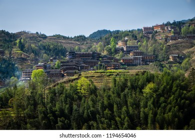 Traditional Yao minority village at Longji rice terraces at Guangxi, China
