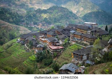 Traditional Yao village of Tian Tou Zhai at Longsheng rice terraces in Guanxi, China