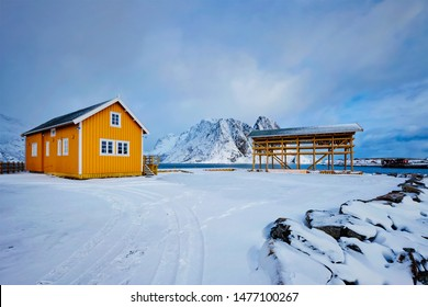 Traditional yellow rorbu house in drying flakes for stockfish cod fish in winter. Sakrisoy fishing village, Lofoten islands, Norway