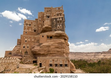 traditional Yemeni heritage architecture design details in historic Sanaa town and buildings in Yemen. Dar al-Hajar in Wadi Dhahr, a royal palace on a rock. iconic Yemeni building. Yemen Culture.