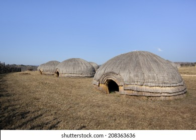 Traditional Zulu beehive huts, South Africa