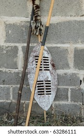 Traditional Zulu shield and spears South Africa