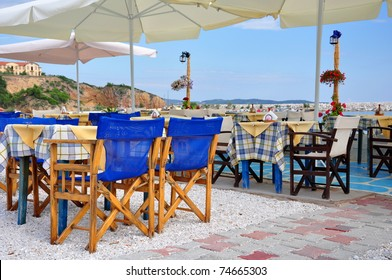 Traditionall Greek tavern, island Thassos, Greece