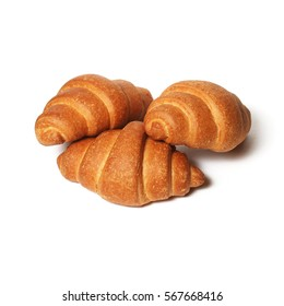 Traditionally Croissants over white background
