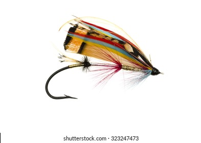 Traditionally dressed Rosy Dawn salmon fly shot against a white background