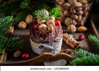 Traditionally gingerbread nuts for Christmas baked in a wooden box
