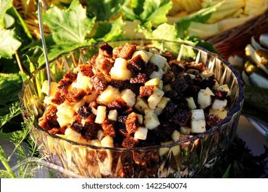"Traditionally Latvian LIGO dishes, bread and cheese salad with garlic. Old Latvian culture tradition. Midsummer night celebrating in Latvia. Celebration of ""Ligo"" feast"