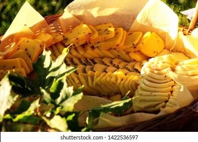 "Traditionally Latvian LIGO dishes, cheese plate. Old Latvian culture tradition. Midsummer night celebrating in Latvia. Celebration of ""Ligo"" feast"