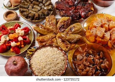 Traditionasl Bulgarian Christmas vegetarian food on holiday table
