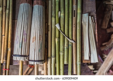 Traditionl tools for making bamboo umbrellas