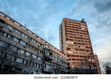 Traditionnal communist housing in the suburb of Belgrade, in New Belgrade. These kind of high rises are symbols of the brutalist architecture