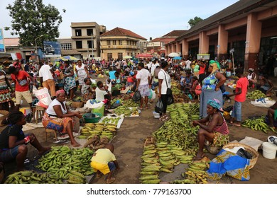 The traditionnal municipal market of the sao tome city in sao tome and principe. The picture has been taken on 19th of november 2016. A lot of women are selling or buying food.