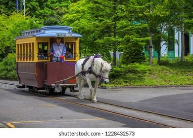 A Tradtional train in Historical Village,  Hokkaido Japan. 10 June 2018