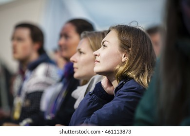 Traena, Norway - July 07 2016: audience at concert of Scottish singer C Duncan at Traenafestival, music festival taking place on the small island of Traena